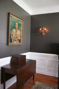 dining room inspiration - maybe white wainscotting with dark grey walls?