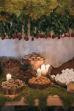 Whimsical Garden Wedding Inspiration Wedding dessert table styling with moss and wood rounds Whimsical Wedding, Woodland Wedding, Rustic Wedding, Bridal Table, Wedding Table, Wedding Desserts, Wedding Decorations, Moss Wedding Decor, Decoration Evenementielle