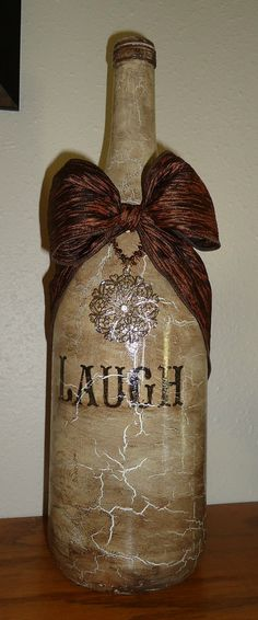My new decorated wine bottle by Unique by Angie!!!! LOVE IT