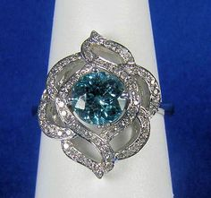 14K White Gold Cambodian Round Blue Zircon Cocktail Ring  1.78 TCW Size 7 Diamond Alternatives, Blue Zircon, Queen, Gems And Minerals, Cocktail Rings, Heart Ring, Jewelery, Amethyst, Fine Jewelry
