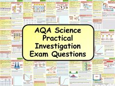 This resource is a set of 19 exam questions designed to improve how students answer questions based around practicals and practical data. Gcse Science Revision, Gcse Physics, Aqa Science, Study Techniques, Study Desk, Investigations, Teaching Resources, Student