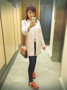 Light pink summer jacket, orange new balance shoes, causal outfit