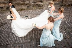 Bride gets plenty of assistance from her bridesmaids to keep her dress clean while walking Prom Dresses, Formal Dresses, Wedding Dresses, Stirling Castle, Bridesmaids, Walking, Wedding Photography, Fashion, Dresses For Formal