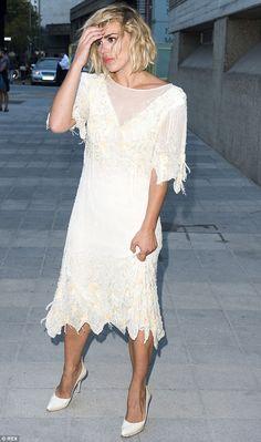 ecfdb00a460bb Billie Piper goes glam in cream dress as she attends theatre gala