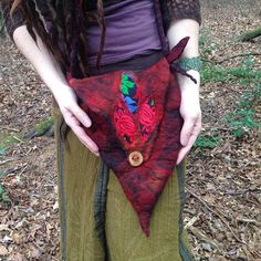 The 'Rose of the Wild' Faerie Felted Bag of Deep Rose Red and Lava Black Hues, Whimsical Pixie, LARP Elf, Fantasy Felt Bag, Festival Wear