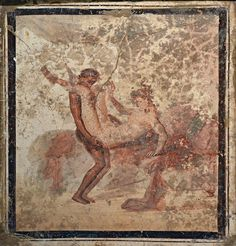 Fragment of wall painting with erotic scene, from Pompeii, Naples National Archaeological Museum