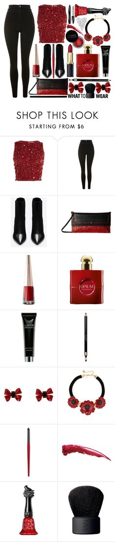 """""""#PolyPresents: New Year's Resolutions"""" by princess13inred ❤ liked on Polyvore featuring Lace & Beads, Topshop, Yves Saint Laurent, Nina, Clarins, Concrete Minerals, Collectif, Kate Spade, Anna Sui and NARS Cosmetics"""