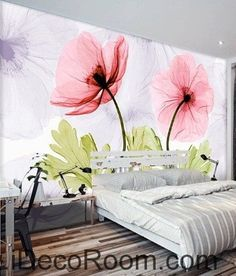 Colorful red flower illustration IDCWP-000047 Wallpaper Wall Decals Wall Art Print Mural Home Decor Gift