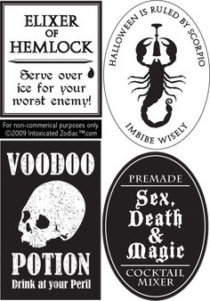 bottle labels.