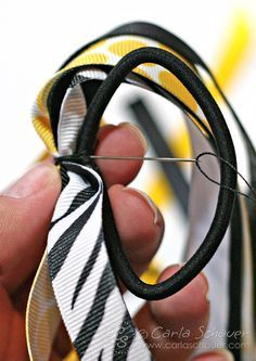 """Make a """"pony-o"""" ribbon bow for softball or other sports.  Complete tutorial on carlaschauer.com."""