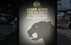 Außenwerbung für die Nachtzoo-Saison im Zoo Salzburg