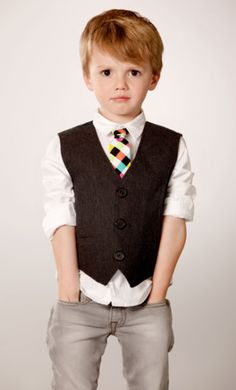 A Punchy Bold Tie Is Perfect Between A Crisp White Shirt and Dark Neutral Vest