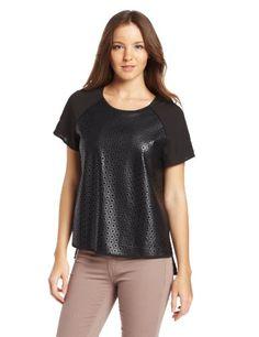 Calvin Klein Women's Perforated Blouse, Black, Small Calvin Klein http://www.amazon.com/dp/B00EZX0ZOE/ref=cm_sw_r_pi_dp_F3e1tb1C0WN38FG6