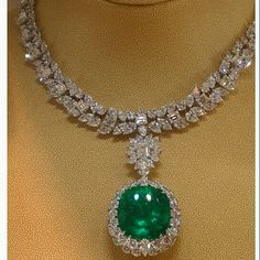 Diamond and Cabochon Emerald Necklace that is a Lestrange family heirloom given to the bride as a wedding gift