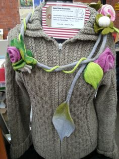 Unbleached Aran cardigan and wet felted climbing rose