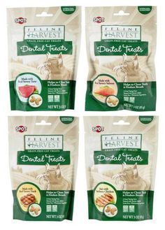 Feline Harvest Grain Free Dental Treats For Cats 4 Flavor Variety Bundle: (1) Feline Harvest Tuna, (1) Feline Harvest Chicken, (1) Feline Harvest Salmon, and (1) Feline Harvest Duck, 3 Oz Ea (4 Bags) >>> More info could be found at the image url.