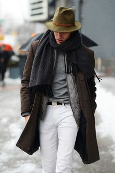 So many great things happening here. Killer hat. Great layering. White denim popping against shades of grey and brown. Heathered solids on quilted nylon on patterned scarf. Ballin'.