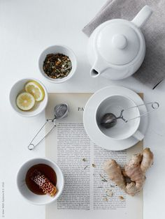 ginger tea with lemon and honey Food Photography Styling, Food Styling, Ginger Tea, Fresh Ginger, My Tea, Tea Recipes, High Tea, Drinking Tea, Afternoon Tea