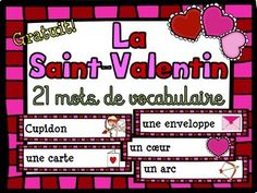 Intgrations:- Jeux de devinettes et d6finitions- Mur de mots- Centre de littratie Voici une liste de 21 mots simples et utiles pour vos lves pour la St-Valentin. Il suffit d'imprimer les mots et de les plastifier et vous pouvez les mettre sur votre mur de mots, jouer  des jeux de vocabulaire ou les mettre dans un centre de littratie.Here is a list of 21 simple and useful words for your students to learn for Valentine's Day. Valentines Day Words, Valentine Crafts, Free In French, French Resources, Saint Valentine, Grade 1, Social Studies, Literacy, Kindergarten
