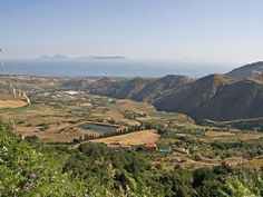 Panorama with the #Mediterranean sea and the #Eolian Islands from the top of the hill. #Sicily, Villa Rica #Patti