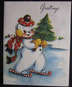 Vintage Christmas Greeting Card Snowman on Candy Cane Skates A-Meri-Card