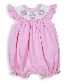 Look what I found on #zulily! Baby Pink Easter Smocked Bishop Bubble Romper - Infant #zulilyfinds