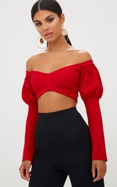 Red Puff Sleeve Bardot Crop TopWith a flattering bardot neckline and on trend puff sleeves, this ...