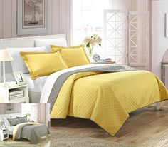 Chic Home 3 Piece Teresa Reversible Color Block Modern Quilt Set, King, Yellow >>> Additional details @ http://www.amazon.com/gp/product/B00Z830E2I/?tag=sweethomeimprovement-20&pza=200716193428