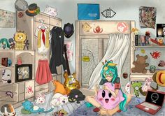 Otaku bedroom, if i had money, yup this is what my room would look like. lol My favorite is Reborn's hat with Leon on it :3