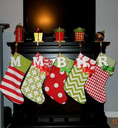 Items similar to Set of SIX Personalized Red and Green Christmas stockings with wooden initial. on Etsy Merry Little Christmas, Winter Christmas, All Things Christmas, Christmas Holidays, Bohemian Christmas, Green Christmas Stockings, Xmas Stockings, Green Stockings, Christmas Projects