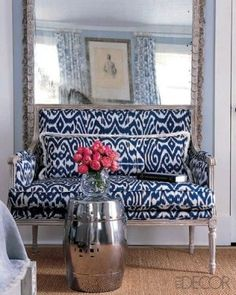 Sisal rug, Ikat print and a chrome garden stool…makes my heart go pitter pat.