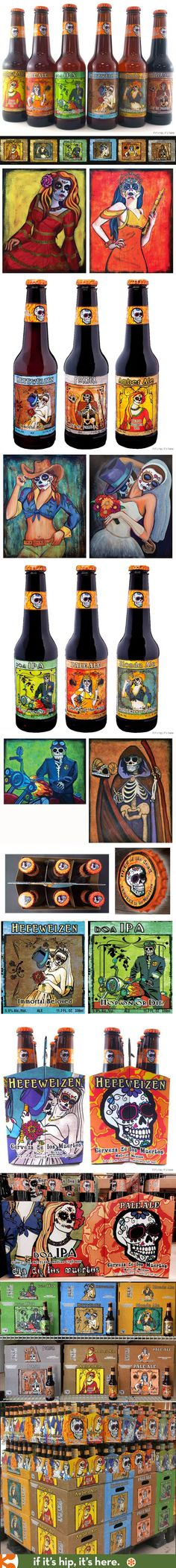 Day of The Dead Beer label designs use the art of Sean Wells. Learn more at http://www.ifitshipitshere.com/spooky-beer-branding-wine-bottle-designs-meurto-motif/