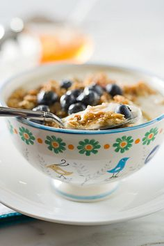 Yogurt, with Granola, Blueberries and Honey