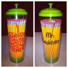 Vinyled Dollar Tree straw holder filled with #2 pencils for Teacher Appreciation Week. School Teacher, Student Teacher Gifts, Teacher Presents, Teacher Treats, Teacher Name, Teacher Stuff, Dollar Tree Cricut, Dollar Tree Gifts, Dollar Tree Classroom