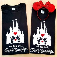 """Happily Ever After After Couple Castle Tees - Mickey and Minnie Tees - Great for Disney Vacation!!  Engagement Disney Photos! Anniversary Disney, Bridal Disney, Valentine's Disney  (@deepintheheartofdisneytees) on Instagram: """"♡❤True Love Lasts Forever! ❤♡ His & Hers Anniversary Valentine's Tees for a sweet friend!  Happy…"""""""