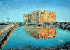 Paphos Castle, Cyprus - Oil on Plywood  (paint 07)