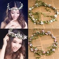Wish | Party Wedding Bridesmaid Floral Flower Festival Forehead Headband Hair Garland