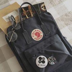 Vinylon F. It has a weird name but it's dirt-resistant, water-resistant, and wipes clean. Mochila Kanken, Aesthetic Backpack, Aesthetic Bags, Cute Backpacks, School Backpacks, Image Basket, School Bag Essentials, Bts Bag, Back To University