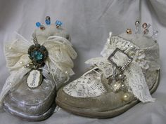 ~ Sweetly Altered Vintage Baby Shoe Pin Cushions ~