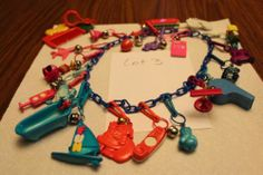 Vintage 1980s 20 Plastic Bell Charms with Necklace RARE