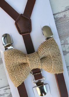 SET Kids Toddler Boys Dark Brown Pu Leather Suspenders & Tan Burlap Clip on Bow Tie Vintage Style Bowtie 8 MONTHS - ADULT size