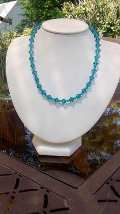 Turquoise Blue Swarovski Crystal Necklace on Etsy, $60.00