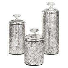 3 Piece Nikki Chu Waldorf Mercury Glass Canister Set