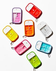Power Mist Shields the hand sanitizer with key ring!  The Shield comes in a soft rubber-silicone material that is wipeable, flexible and very durable to keep up with your daily touching!