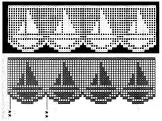 MIRIA CROCHÊS E PINTURAS: BARRADOS DE CROCHÊ COM MOTIVOS MARÍTIMOS N° 315...Filet crochet edging...Would be pretty on bath towels!