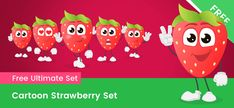 A cartoon strawberry character made in a set of 6 poses. This pack is made of vector shapes for your convenience. Kiwi Vector, Watermelon Vector, Vector Characters, Cartoon Characters, Free Vector Clipart, Vector Shapes, Action Poses, Cute Cartoon, Strawberry