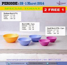 Promo Tulipware 2 Free 1 (28 Februari - 1 Maret 2014) : Bowl, Small Bowl, Medium Bowl