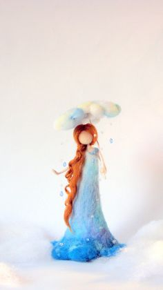 Needle felted Art doll Waldorf inspired Rain Fairy Fantasy