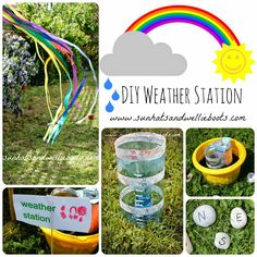 DIY Weather Station for Kids to Make {from Sun Hats & Wellie Boots}. Gives students an opportunity to create their own weather station to collect data on weather conditions. Weather Activities For Kids, Forest School Activities, Weather Crafts, Weather Science, Weather Unit, Weather And Climate, Outdoor Activities For Kids, Outdoor Learning, Science For Kids