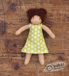 Waldorf doll - Dressable Waldorf doll - Girl - 22 cm - 9 inch - Curly brown by naronka on Etsy